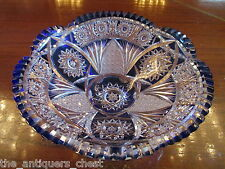 CZECHOSLOVAKIA BOHEMIA HAND CUT clear glass and blue CRYSTAL ROUND bowl [a*5]