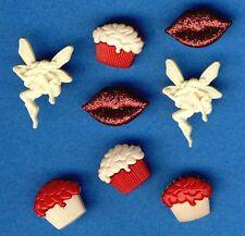 Hada Cupcake Kisses-Hada De Fantasía Labios Love Cup Cake, temática Craft Botones
