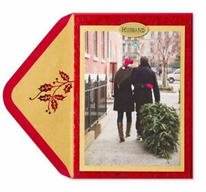 Papyrus Couple in the City Flocked Christmas Card (For Husband) With Xmas Tree