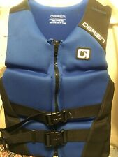 "OBRIEN Hinged Blue/Black Neoprene Life Vest Adult Small 32"" to 36"" Chest Unused"