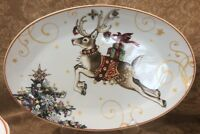 NIB WILLIAMS SONOMA TWAS THE NIGHT BEFORE CHRISTMAS OVAL REINDEER PLATTER ~MultI