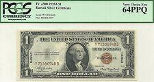 1935-A $1 HAWAII WORLD WAR II NOTE - SCARCE Y-B BLOCK - PCGS GEM NEW 64 PPQ