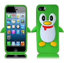 For Apple iPhone 5 5S SE Rubber SILICONE Soft Gel Skin Case Cover Green Penguin