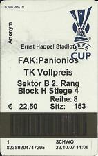 2007 - 2008 EUROPA CUP TICKET STUB AUSTRIA WIEN – PANIONIOS NEA SMYRNI