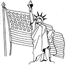 Statue of Liberty, Unmounted Rubber Stamps, Patriotic Stamps, USA, American Flag