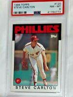 1986  Steve Carlton HOF Topps PSA 8 NM MINT #120 Phillies Baseball Card