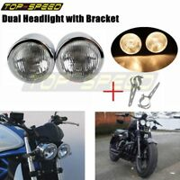 Motorcycle Chrome Dual H4 Headlight + Bracket Front Lamp Dominator Streetfighter