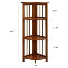 Bookcase Corner Shelf Cabinet Folding Knick Knack Office Plant Storage Furniture
