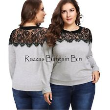 New Ladies Grey Top With Lace Size 12/0XL (1199)PN