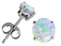 925 Silver White Fire Opal Women Trendy Jewelry Gift Party Ear Stud Earrings