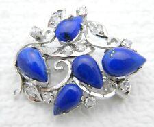 VTG .925 Sterling Silver Blue Lapis Lazuli Clear Rhinestone Flower Pin Pendant