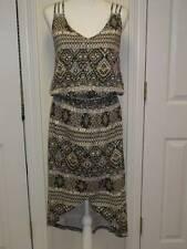 WOMENS THREADS 4 THOUGHT SUMMER DRESS BROWN TAN WHITE ORGANIC COTTON L NWT