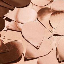 """Copper Shiny Metallic Sequins Teardrop 1.5"""" Large Couture Paillettes"""