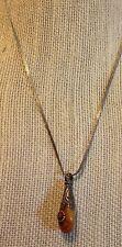 """VINTAGE ART DECO NOUVEAU AMBER CORAL STERLING SILVER DROP NECKLACE 1920s 17"""""""