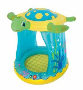 Bestway Planschbecken Turtle mit Sonnendach Kinderpool Wasserbecken Babypool
