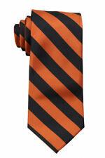Men's Orange and Black Collegiate Striped Classic Necktie Schools Business Clubs