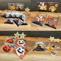 100Pcs Halloween Self Adhesive Bags Candy Cookie Gift Cellophane Party Bag