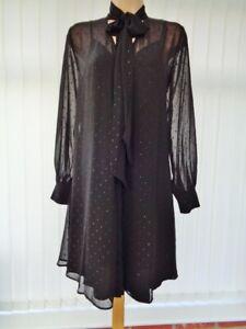 HOBBS EVANGELINA BLACK SPARKLE SHEER CHIFFON PUSSY BOW DRESS 8 10/12 ONCE £139