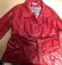 Vegan Red Leather Jacket Coat Women's Size M/L