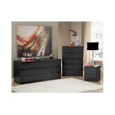Nightstand Dresser Set Black Woodgrain 5 Drawer Cabinet Double Storage
