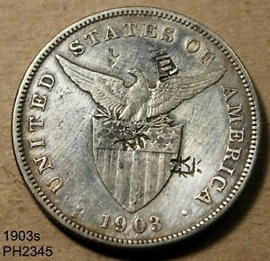 PHILIPPINES Peso 1903-S circulated with CHOP MARKS Free Shipping in United State