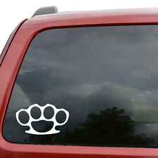 "Brass Knuckles JDM Car Window Decor Vinyl Decal Sticker- 6"" Wide White"