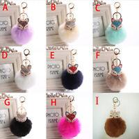 Pom Pom Ball Crystal Furry Fox Key Chain Ring Purse Backpack Charm Gift Bag