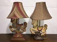 Lot Of 2 Vintage Ceramic Carousel Brown White Horse Medium Lamp Wood Base 26""