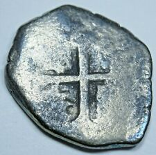 Spanish Silver Shipwreck 1 Reales Piece of 8 Colonial Pirate Treasure Cob Coin