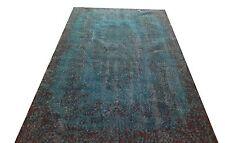 "7' X 3' 9"" Turkish Vintage pale pastel  Turquoise BLUE  aqua Overdyed rug carpet"