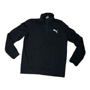 Puma Womens 1/4 Zip Pullover Long Sleeve Logo Large Black S2