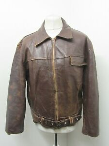 VINTAGE 60's FRENCH DISTRESSED LEATHER MOTORCYCLE JACKET SIZE M ECLAIR ZIP