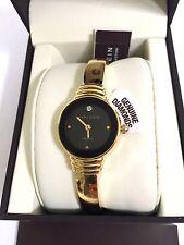 NEW Anne Klein Genuine Diamond Collection Gold-Tone Bracelet Watch AK 2558BKGB