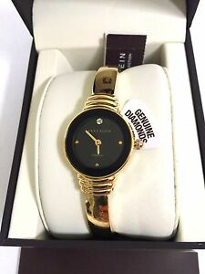 Anne Klein Genuine Diamond Collection Gold-Tone Bracelet Watch AK 2558BKGB