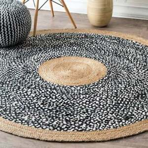 Rug Cotton Jute Braided Indian Natural Round Rug Various Size Floor Living Rug