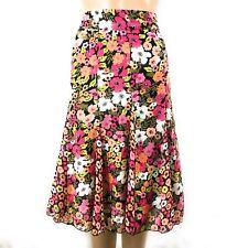 Kim Rogers Signature Womens Skirt Sz Medium Floral Pink Multi Midi Length