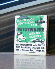 Vintage Matchbook W9 Circa 1940 Diamond Match Co Chicago Illinois Classic Car