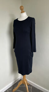 THE WHITE COMPANY Fabulous Navy Blue 100% Cotton Dress With Pockets Size S NWOT
