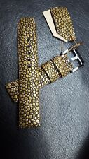 Sunflower  stingray embossed watch band 20 mm, genuine leather, 100% handmade