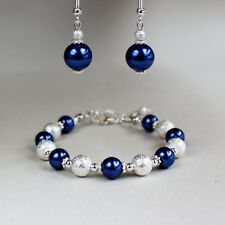 2 piece set midnight blue pearls bracelet earrings silver wedding bridesmaid set