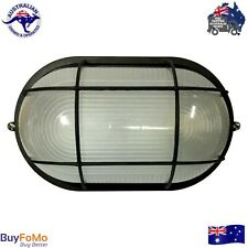 Black Caged Wall Mounted Bunker Outdoor Garden Light E27 Socket LED Compatible