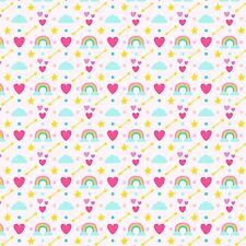Printed Bow Fabric A4 Canvas Hearts Clouds Stars Rainbows U14 Make glitter bows
