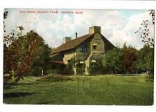 "1908 vintage postcard Log Cabin, Palmer Park, Detroit, Mich ""Mrs. Silk is dead"""