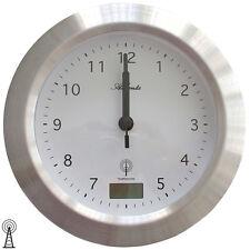 Atlanta 4204/19 Wanduhr Baduhr Funk silbern wassergeschützt mit Thermometer