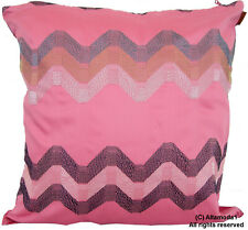 "MISSONI HOME PILLOW COVER EMBROIDERED HILLY 253 100% COTTON SATEEN 16x16""  40X40"