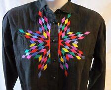 Vintage Southwest Canyan Women Shirt Sz L Starburst Design Button Front Long Sl