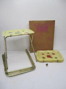Set 4 Vtg MCM Marsh Allan King Size Folding TV Tray Tables Leaves Fiberglass