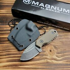 Boker Magnum 02SC743 Lil Friend Micro Tan G10 Handle Fixed Blade Neck Knife New