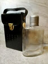 Transistor Radio Secret Glass Flask Bottle & Black Faux Leather Case Picnic Hike