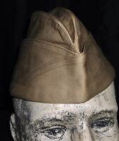 Mint Original Dated 1942 WW2 US Army Air Force Khaki side Cap,Uniform Helmet pin
